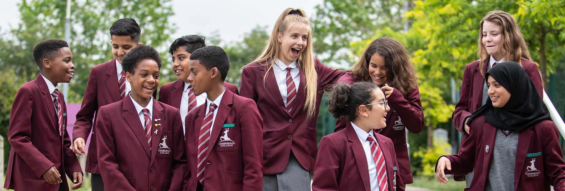 Conisborough College - Students Outside Smiling